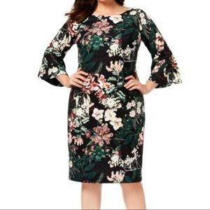 Calvin Klein Floral Bell Sleeves Dress Size 22W